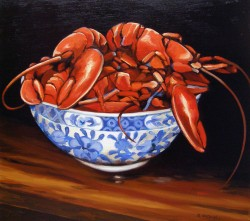 Blue and White Bowl of Lobsters   16x20