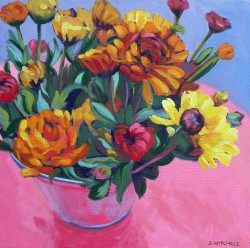 Bucket of Mums   16x16