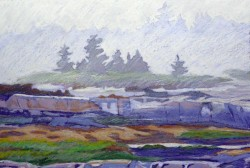 Oil Pastel-Fog at Stonehurst   13x19